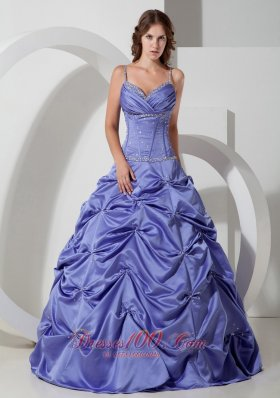 Lilac A-line Spaghetti Straps Floor-length Taffeta Beading Quinceanera Dress Fashion