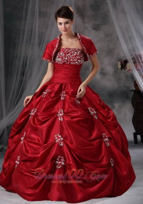Red Ball Gown Strapless Floor-length Taffeta Appliques Quinceanera Dress Fashion