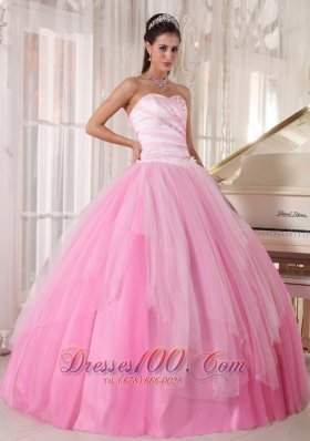 Perfect Pink Quinceanera Dress Sweetheart Tulle Beading Ball Gown Fashion