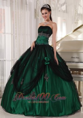 Pretty Green Quinceanera Dress Strapless Tulle and Taffeta Beading Ball Gown Fashion