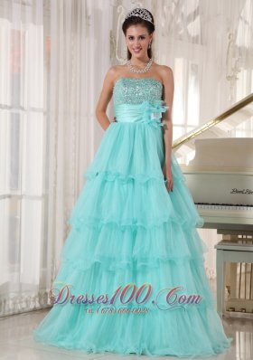 Popular Apple Green Quinceanera Dress Strapless Taffeta and Organza Beading A-line Fashion