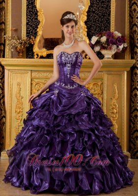 Modest Purple Sweet 16 Dress Sweetheart Ruffles Organza Ball Gown Fashion