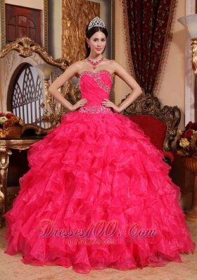 Perfect Coral Red Quinceanera Dress Sweetheart Organza Beading Ball Gown Fashion