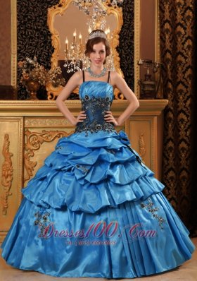 Lovely Blue Quinceanera Dress Straps Taffeta Appliques Ball Gown Fashion