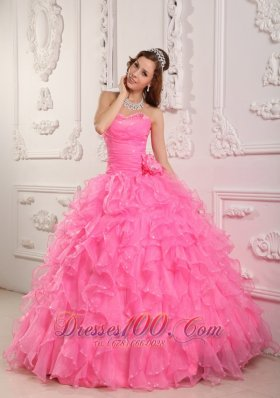 Romantic Rose Pink Quinceanera Dress Sweetheart Organza Beading Ball Gown Fashion