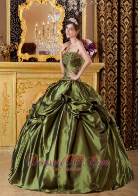 Brand New Olive Green Quinceanera Dress Strapless Taffeta Appliques Ball Gown Fashion