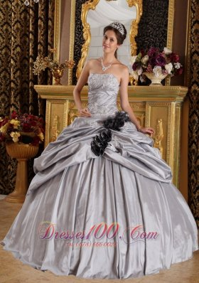 Gray Ball Gown Strapless Floor-length Taffeta Appliques Quinceanera Dress Fashion