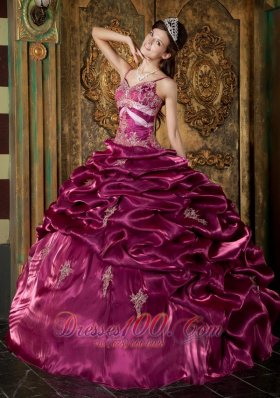 Fuchsia Ball Gown Strap Floor-length Taffeta Beading Quinceanera Dress Fashion