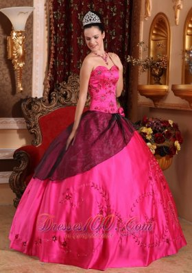 Brand New Hot Pink Quinceanera Dress Sweetheart Satin Embroidery with Beading Ball Gown Fashion