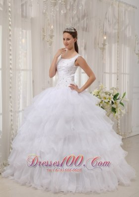 Brand New White Quinceanera Dress Scoop Satin and Organza Appliques Ball Gown Fashion