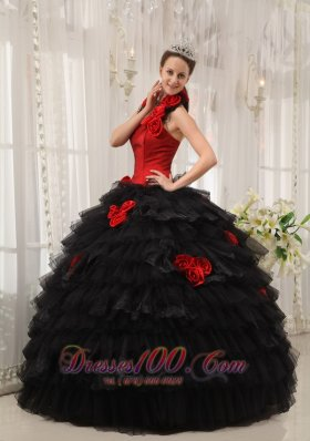 Red and Black Ball Gown Halter Floor-length Taffeta and Organza Hand Flowers Quinceanera Dress Fashion