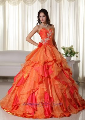 Orange Ball Gown Sweetheart Floor-length Organza Appliques Quinceanera Dress Fashion