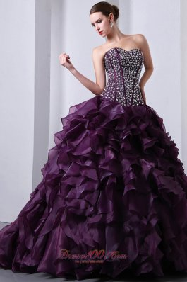 Dark Purple A-Line / Princess Sweetheart Beading and Ruffles Quinceanea Dress Brush Train Organza Fashion