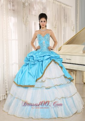 Sweetheart Beaded and Pick-ups For Aqua Blue and White Quinceanera Dress Ruffled Layers In Kailua-Kona City Hawaii Fashion