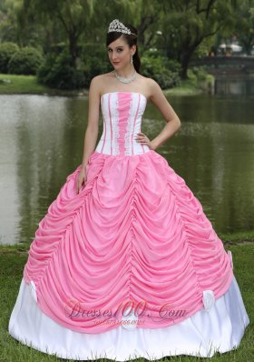 Custom Made Quinceanera Dress With Strapless Ball Gown Rose Pink and Pick-ups Fashion