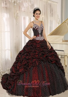 Special Fabric Pick-ups Spagetti Straps Appliques Decorate Quinceanera Gowns In Mar del Plata Fashion