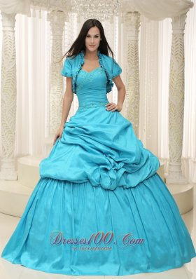 Teal Taffeta Sweetheart Appliques Lace Up For Quinceanera Dress Plus Size