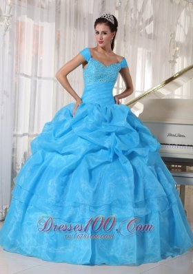 Beautiful Sky Blue Quinceanera Dress Off The Shoulder Taffeta and Organza Beading Ball Gown Plus Size