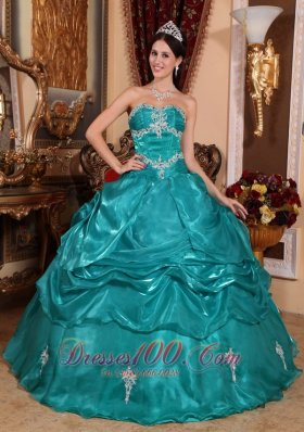 Brand New Turquoise Quinceanera Dress Strapless Organza Appliques Ball Gown Plus Size