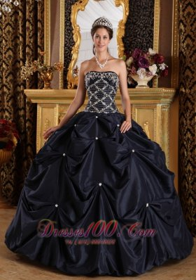 Popular Black Quinceanera Dress Strapless Beading Taffeta Ball Gown Plus Size