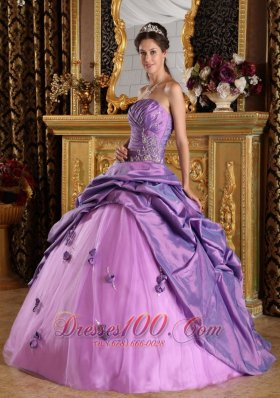 Lavender Ball Gown Strapless Floor-length Taffeta Beading Quinceanera Dress Plus Size