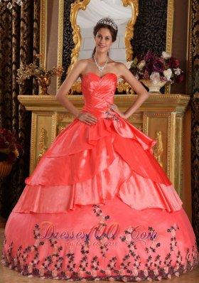 Watermelon Red Ball Gown Sweetheart Floor-length Taffeta Appliques Quinceanera Dress Plus Size
