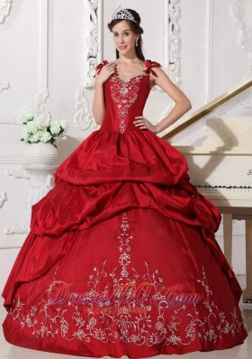 Modest Wine Red Quinceanera Dress Straps Floor-length Taffeta Embroidery Ball Gown Plus Size