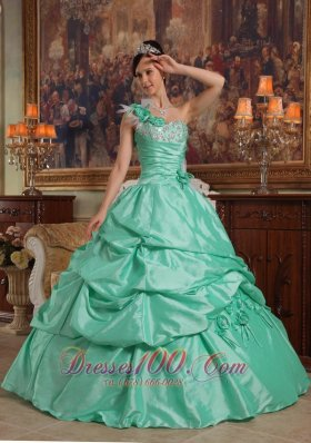 Brand New Apple Green Quinceanera Dress One Shoulder Hand Flowers Taffeta Ball Gown Plus Size