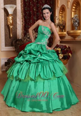 Spring Green Ball Gown Strapless Floor-length Taffeta Appliques Quinceanera Dress Plus Size