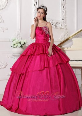 Hot Pink Ball Gown Straps Floor-length Taffeta Beading Quinceanera Dress Plus Size