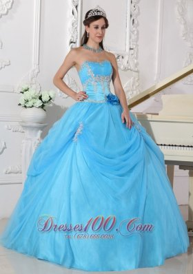 Fashionable Aqua Blue Quinceanera Dress Strapless Taffeta and Organza Appliques and Hand Made Flower Ball Gown Plus Size