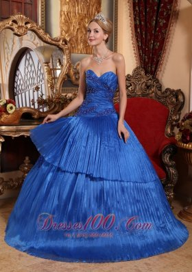 Pretty Royal Blue Quinceanera Dress Sweetheart Organza Ball Gown Plus Size