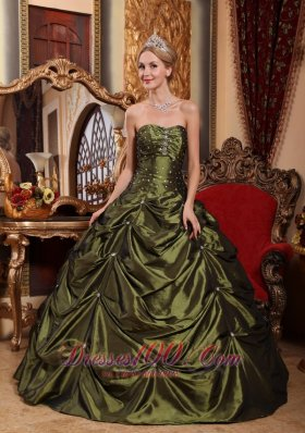 Pretty Olive Green Quinceanera Dress Strapless Taffeta Beading Ball Gown Plus Size