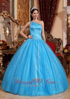 New Blue Quinceanera Dress One Shoulder Tulle and Taffeta Beading Ball Gown Plus Size