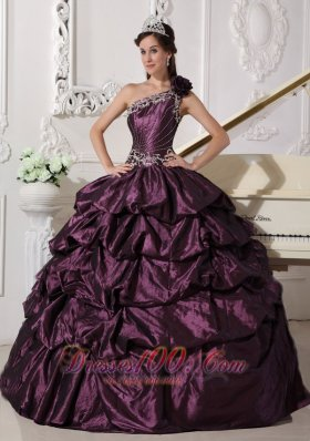 Fashionable Dark Purple Quinceanera Dress One Shoulder Taffeta Appliques and Pick-ups Ball Gown Plus Size