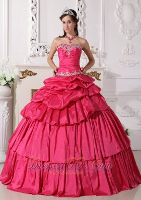 Detachable Hot Pink Quinceanera Dress Sweetheart Taffeta Beading and Ruch Ball Gown Plus Size