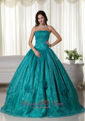 Turquoise Ball Gown Strapless Floor-length Organza Beading Quinceanera Dress Plus Size