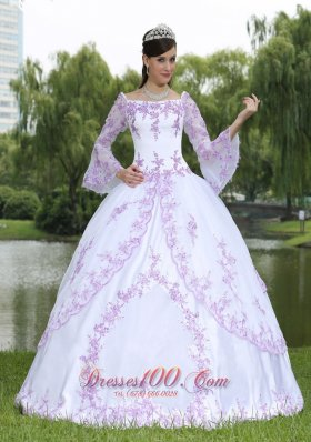 Wholesale Embroidery Long Sleeves Sweet 16 Party Dress With Square Neckline Plus Size