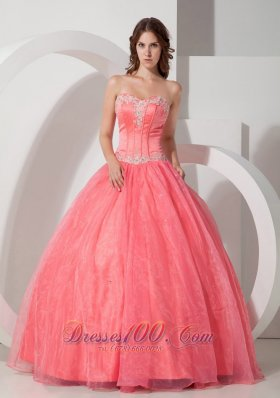 Beautiful Ball Gown Sweetheart Floor-length Satin and Organza Appliques with Beading Quinceanera Dress Pretty