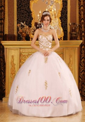 Exclusive White Quinceanera Dress Strapless Organza Appliques Ball Gown Pretty