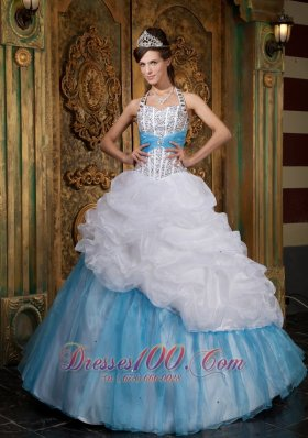 White and Blue A-line / Princess Halter Floor-length Beading Quinceanera Dress Pretty