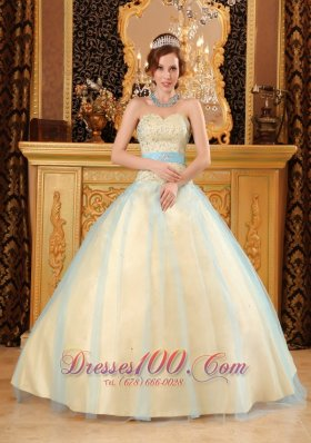 Elegant A-line Sweetheart Floor-length Beading Satin and Organza Champagne Quinceanera Dress Pretty
