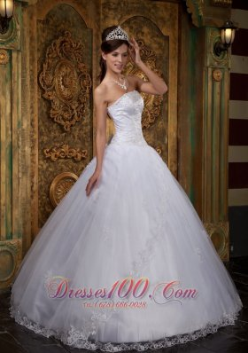Cheap White Quinceanera Dress Strapless Satin and Tulle Strapless Lace Ball Gown Pretty