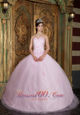 Baby Pink Ball Gown Sweetheart Floor-length Tulle Appliques Quinceanera Dress Pretty