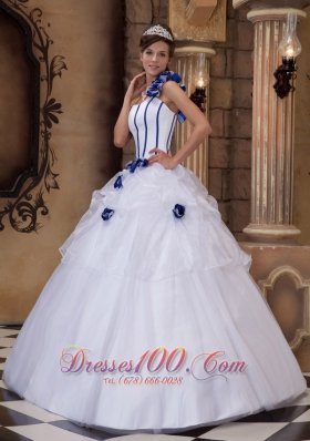 White Ball Gown One Shoulder Floor-length Satin and Tulle Hand Made Flowers Quinceanera Dress Pretty