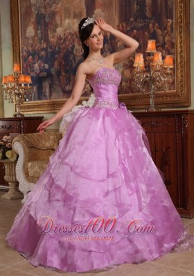 Lavender Ball Gown Strapless Floor-length Organza Beading Quinceanera Dress Pretty