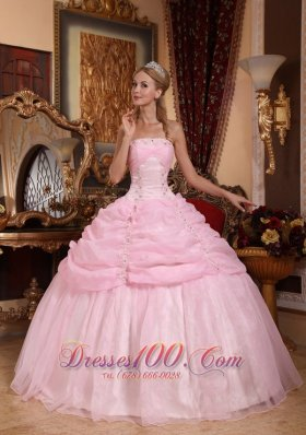 Gorgeous Baby Pink Quinceanera Dress Strapless Organza Appliques Ball Gown Pretty