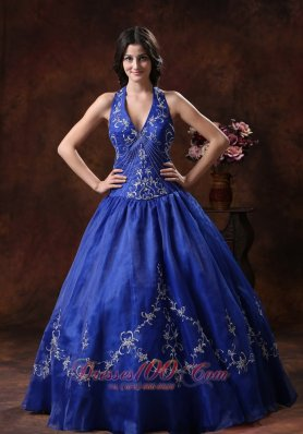 A-line Halter Prom Dress With Embroidery Decorate Organza In 2013 Wickenburg Arizona Pretty