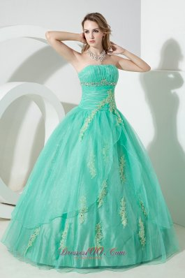 Turquoise Ball Gown Strapless Floor-length Organza Beading and Embroidery Quinceanera Dress Pretty