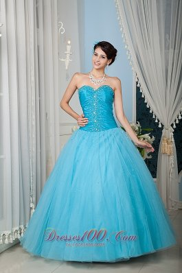 Custom Made Aqua 15 Quinceanera Dress A-line / Princess Sweetheart Tulle Beading Floor-length Pretty